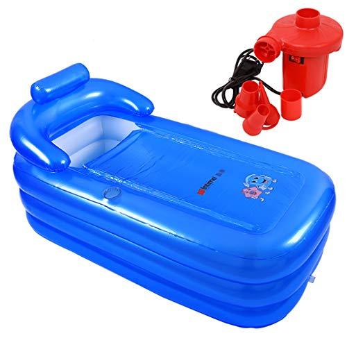 Zhanyi Faltbare aufblasbare Badewanne für Erwachsene, tragbare, komfortable Badewanne, verdickte Whirlpool-Einweichbäder Pools-U-Handläufe - Dickes PVC- mit elektrischer Luftpumpe-blau