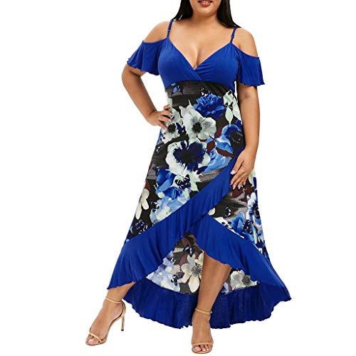 MRULIC Freizeitkleider Rückenfreies Kleid Damen Midi Kleider V-Ausschnitt Wrap Floral Partykleid Damen Gedruckt Asymmetrische Camisole Ärmelloses Kleid Strand Chiffon Abendkleid -