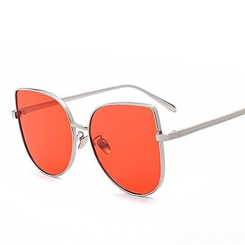 WZW Mode Classic Women Cadre en métal Colorful Lens Lunettes de soleil Cat Eye Glasses . big red c5