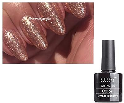 Bluesky Rose Gold Sparkle QCG15 Nail Gel Polish Exclusive PLUS 2 Luvlinail Shine Wipes
