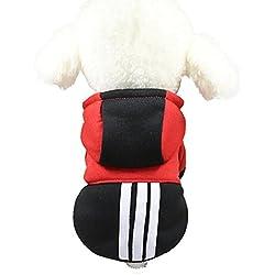 sudadera con capucha para pequeño perros accesorios ropa Sannysis camisetas a rayas polar suéter ropa caliente suéter de invierno mascotas accesorios gatos apparel barato (2XL, Negro)