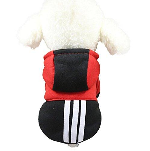 sudadera con capucha para pequeño perros accesorios ropa Sannysis camisetas a rayas polar suéter ropa caliente suéter de invierno mascotas accesorios gatos apparel barato (L, Negro)