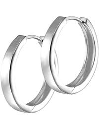 Vinani Damen-Klapp-Creolen rund schmal glänzend Sterling Silber 925 Ohrringe CGG
