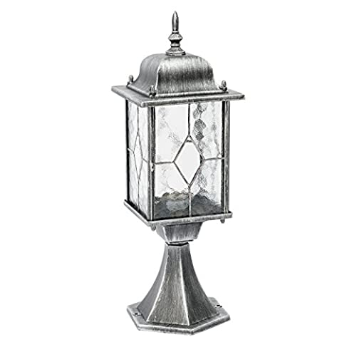 Outdoor post lantern silver metal colour riffled glass classic style 1 bulb pathway light for garden 1*95W E27