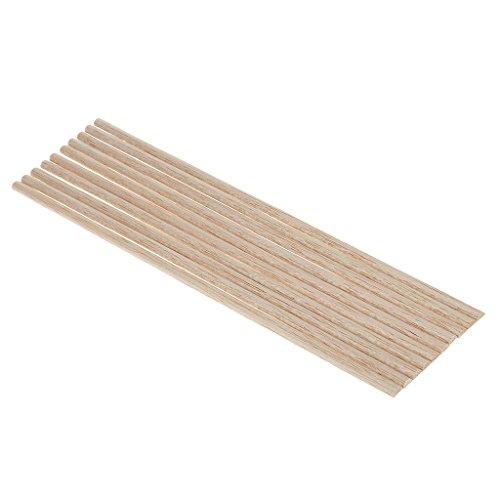 MagiDeal 10 Stück Rundstab Bastelstäbe Holzstab Unfinished Holz Handwerk Halbkreis Stick Dowel Rod - 7mm - Unfinished Holz