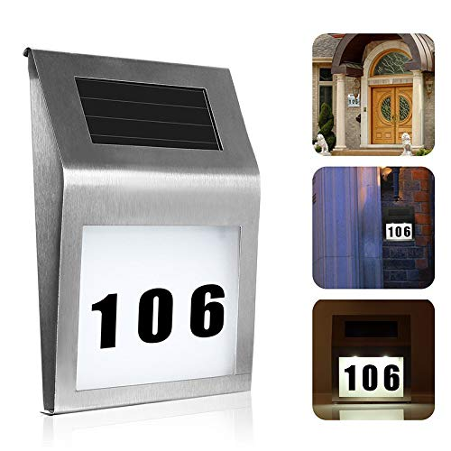 Queta Solar-Hausnummern-Licht, solarbetriebene Straße, Adresse, LED-Schilder für Zuhause oder Hof, 2 LEDs, Edelstahl