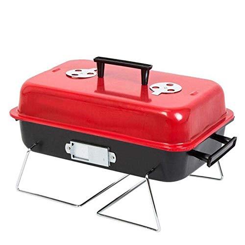 KJRJSK Holzkohlegrillgrill Tragbarer Grill Edelstahl Klappgrill Camping Grill Tischgrill für tragbaren Campingkoch Kleiner Grill (Color : Red)