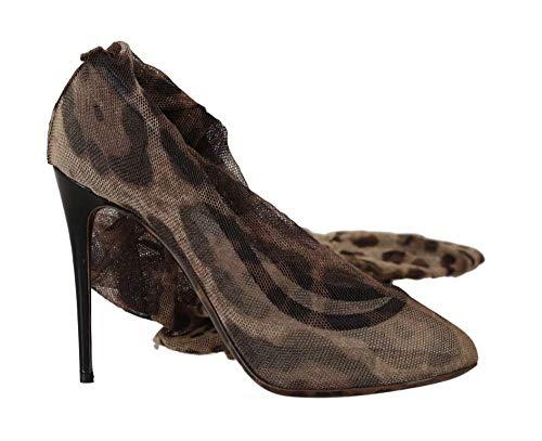 Dolce & Gabbana - Damen Schuhe - Pumps Brown Leopard Tulle Long Socks Pumps - Gabbana Leopard