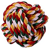 Sri Imported Puppy Cat Dog Cotton Rope Braided Ball Play Fetch Toy (Yellow)
