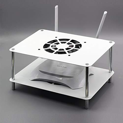 YANIQNG Schwimmdock Regal für TV-Komponenten, WiFi Router Rack-TV-Konsole Multimedia Geräte-Rack, mit Router Hitze Kühlerlüftern, 2 Tier, Router/Remotes/DVD-Player/Spiel-Konsolen, Schwarz, Weiß (Geräte-rack Elektronische)