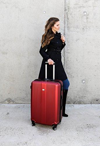 PURE Koffer SENSATION / Reisekoffer / Hartschale / Trolley / robustes PET / 4 Rollen / TSA Zahlenschloss (rot, S) - 5