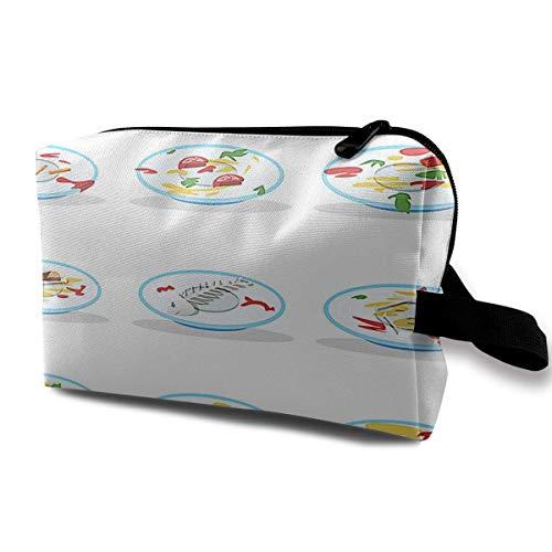 Dirty Plate Portable Travel Makeup Bag,Storage Bag Portable Ladies Travel Square Cosmetic Bag