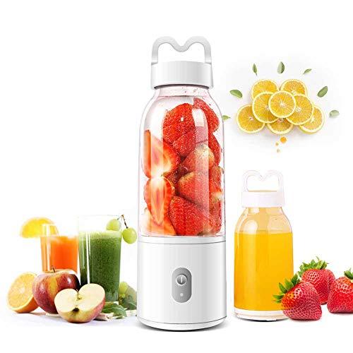 BAOHUI Licuadora Portátil, Mini licuadora de Frutas Mini Batidora Electrica con 6 Cuchillos de Acero para Smoothies Zumos de Fruta y Verdura, Milkshake (White)
