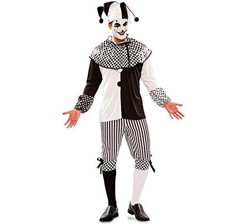 (EUROCARNAVALES Herren Kostüm Harlekin Piper Schwarz Weiß Clown Pierrot Fasching Karneval (48))