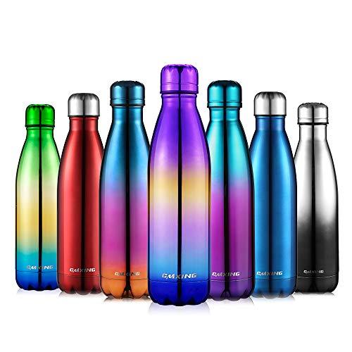 cmxing Doppelwandige Thermosflasche 500 mL / 750 mL mit Tasche BPA-Frei Edelstahl Trinkflasche Vakuum Isolierflasche Sportflasche für Outdoor-Sport Camping Mountainbike (Lila+Gelb+Blau, 500 mL)