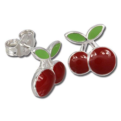 Teenie-Weenie Ohrstecker rot grün Ohrringe Silber Kirschen Kinder D1SDO609R -