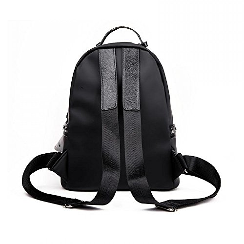 MSXUAN Schulter-Beutel-weiblicher koreanischer Rucksack-Gezeiten-Oxford-Textilart- und weisewild-Dame Bag M020DE-Schwarz
