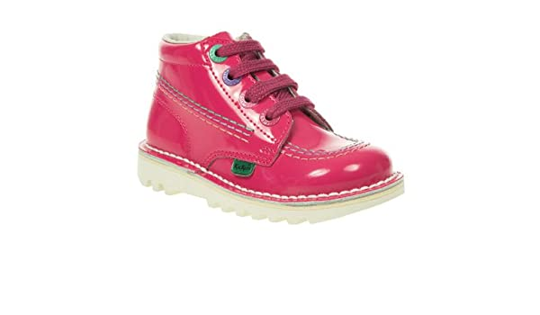 bc670e564d98b Kickers Kids Nursery Girls Pink Patent Lace Up Ankle Boots Size 26: Amazon. co.uk: Shoes & Bags