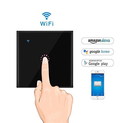 AOLVO WIFI Lichtschalter, Touchscreen-schalter, Fernbedienung & Touch Timer Schalter Sprachsteuerung von Alexa Google Home Arbeitet LED Dimmer Lichtschalter (Schwarz 1)