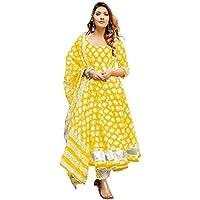 Femezone Women's Cotton Printed Anarkali Flaired kurtipant Dupatta Set