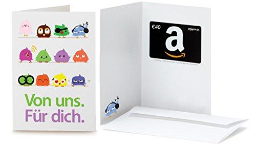 mit Geschenkgutschein - 40 EUR (Vögel) (Geschenkkarte Geburtstag)