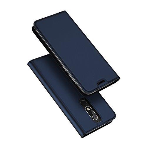DUX DUCIS Coque Nokia 5.1, Premium Étui de Protection [Stand Support] [Porte-Cartes de Crédit] [Fermeture Magnétique] TPU Bumper Housse en Cuir pour Nokia 5.1 (Bleu Profond)
