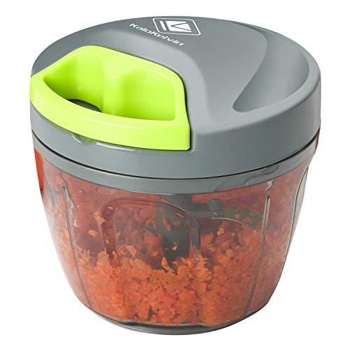 Kalokelvin Zwiebel Zerkleinerer, Zwiebelschneider Gemüseschneider Manuell Küche Küchenmaschine mit 3 Klingen für Babynahrung, Obst und Gemüse, Fleisch (650ml)