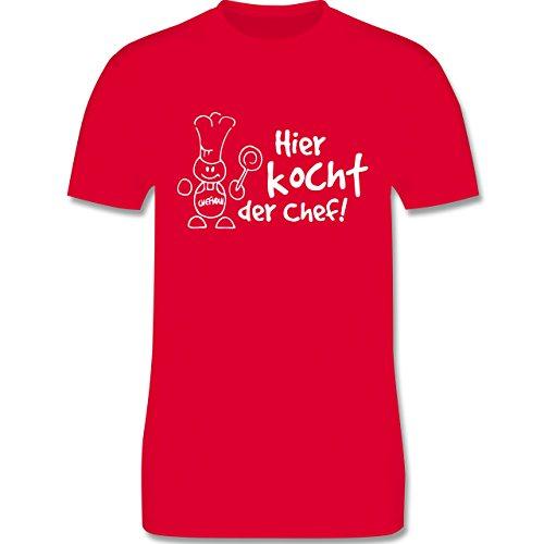 Küche - Hier kocht der Chef - Herren Premium T-Shirt Rot