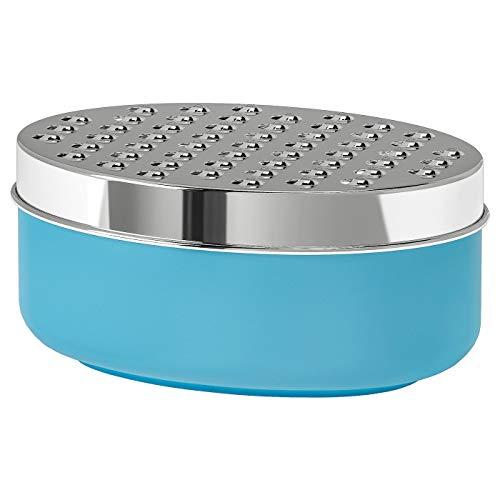 Reibe mit Behälter, blau, Produktgröße: Länge: 17 cm, Breite: 12 cm, Höhe: 7 cm, Material: Edelstahl, Polypropylen, Kunststoff