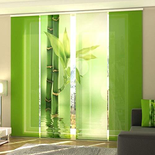 Wellmira - tenda a pannello con stampa fotografica, 4 x 245 x 60 cm, in bambù, incl. binario di scorrimento