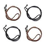 Ukainiemai 4 Stück Geflochtene Brillenband Seil Verstellbar PU Leder Brillen Kordel Halter Brillen Kordel Brillen Seil (2Black2Brown)