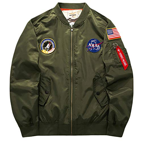 5ca3516f361 Bomber Jacket Hombre ,Manga Larga Outerwear De Bombardero Spring By  Sandbank Green Army L