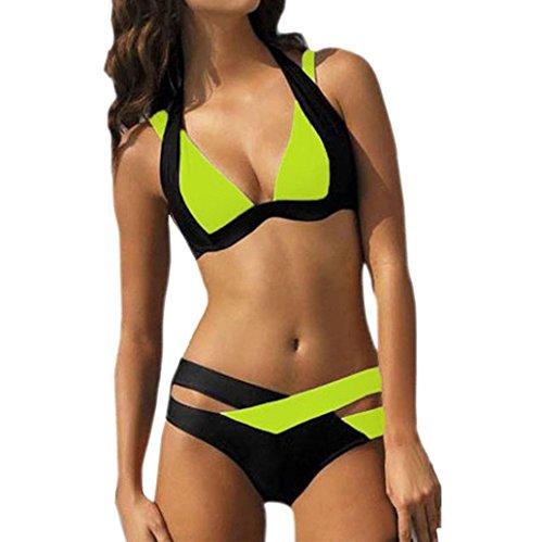 Damen Bikini Set Sonnena Frauen Bademode Beachwear Split Badeanzug Swimwear Push-up Gepolsterte BH +Bikinihose Zweiteilig Verband Schwimmen Patchwork Bandage Badeanzug (3XL, Sexy Grün) (Schwimmen Spitze Grün)