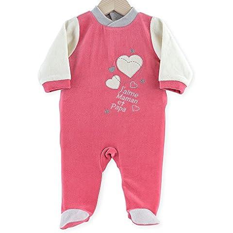 "Kinousses - Pigiama per bambina, motivo ""J'aime Maman et Papa"", colore: rosa [lingua francese]"