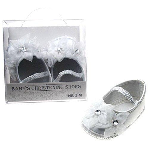 Ragazze Floreale, colore: bianco satinato diamante battesimo scarpe e calze 6-12mesi