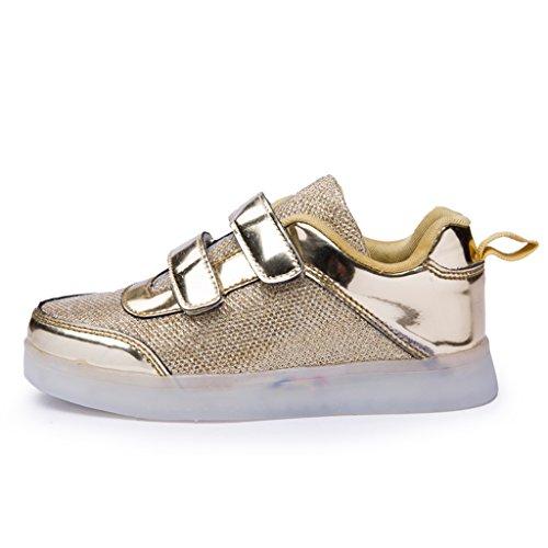 DoGeek Unisex Bambino Scarpe Con Luci Scarpe Led Luminosi Sneakers Con Luce Nella Suola Bright Tennis Shoes USB 7 Colori Lampeggiante Trainners Oro