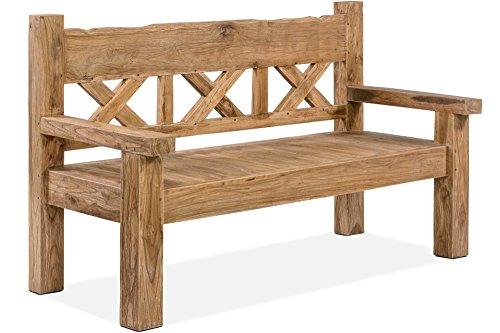 OUTFLEXX Gartenbank, natur, recyceltes Teakholz, 160x73cm, mit Rücken- und Armlehnen, rustikal gebürstet