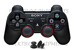 PS3 Controller Replacement Plastic 3D Joystick Cap with Anti-slip Silicone Cover - Black (1 Pair each)(Controller NOT INCLUDED)