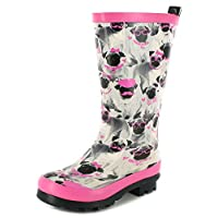 Platino New Girls/Childrens Grey/Pink Cute Pug Print Wellington Boots - Grey Pug Print - UK Size 2