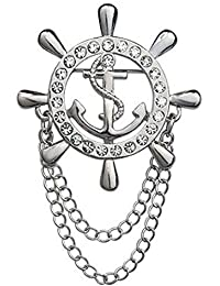 New Korean Fashion Crystal Men Brooches Navy Anchors Rudder Brooch Collar For Men And Women Jewelry