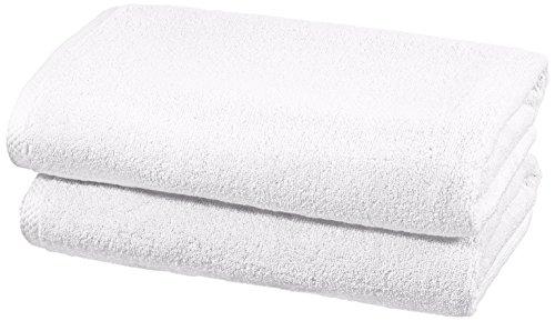 Amazonbasics set di asciugamani ad asciugatura rapida, 2 pezzi, 2 teli bagno - bianco