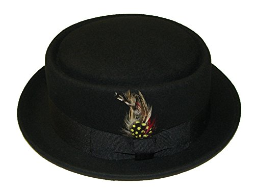 Wollhut/Filzhut, Unisex, faltbar,Pork Pie/Trilby, mit abnehmbarer Feder und passendem Band, 100%Wolle, von Hand gefertigt, schwarz - schwarz - Größe: M