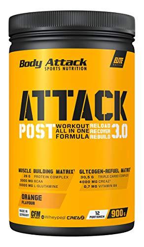 Body Attack Post Workout Shake POST ATTACK 3.0 I Workout All in One Formula I Maltodextrin, Whey Protein, BCAA, CREAZ, L-Glutamin I Muskelaufbau & Regeneration I 900g (Orange)