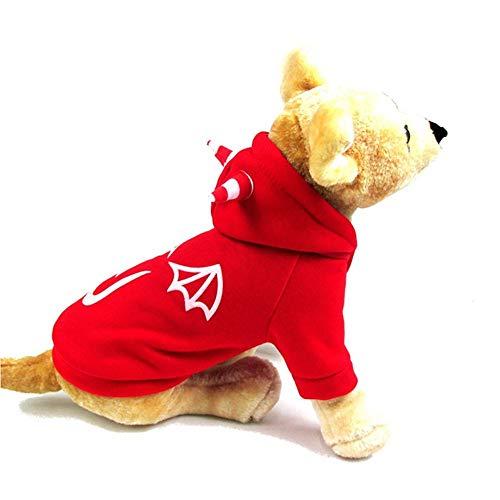 Kennella Haustier-Baumwolle Hoodied Sweatshirts Halloween-Teufel-Mantel Welpen-Hundekleid