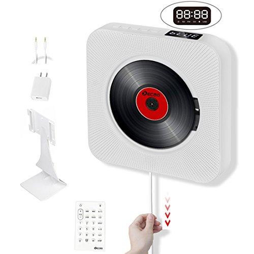 KECAG Lecteur CD montage mural Bluetooth Boombox portable audio à la maison avec télécommande FM radio intégrée haut-parleurs HiFi USB mp3 3,5 mm prise d