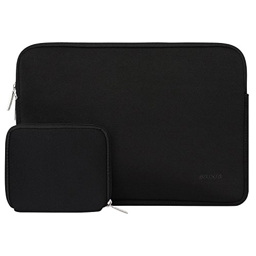 MOSISO Wasserabweisend Neopren Hülle Sleeve Tasche Kompatibel 13-13,3 Zoll MacBook Pro, MacBook Air, Notebook Computer Laptophülle Laptoptasche Notebooktasche mit Kleinen Fall, Schwarz