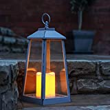 Festive Lights - Lanterna da Giardino a Batteria, Effetto tremolante, LED Bianco Caldo, 33 cm, Colore: Grigio