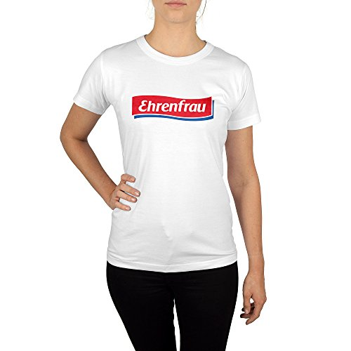 licaso Frauen T-Shirt mit Aufdruck in Weiß Gr. XL Ehrenfrau Gang Design Girl Top Mädchen Shirt Damen Basic 100% Baumwolle Kurzarm