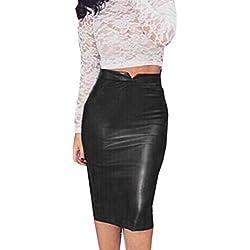 Culater Faldas Cortas Elástico paquete cadera Cuero de la PU (L, Negro)