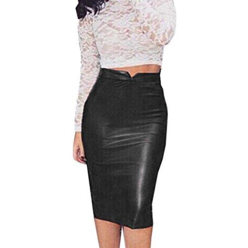 Culater Faldas Cortas Elástico paquete cadera Cuero de la PU (L, Negr
